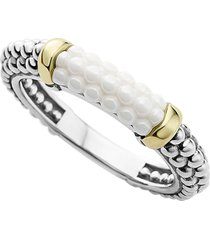 lagos 'caviar' stacking ring, size 7 in white/gold at nordstrom