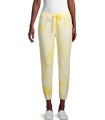 grey state women's tie-dye cropped sweatpants - tender yellow - size m