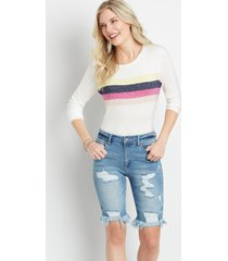 kancan™ womens high rise medium destructed bermuda shorts blue - maurices