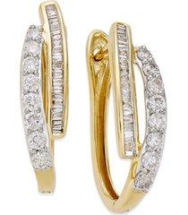 diamond hoop earrings (1 ct. t.w.) in 10k yellow or white gold