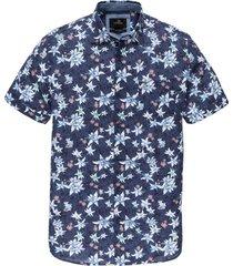 vanguard overhemd korte mouw donkerblauw bloemen