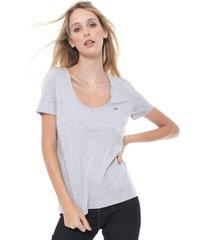 camiseta lacoste bã¡sica cinza - cinza - feminino - algodã£o - dafiti