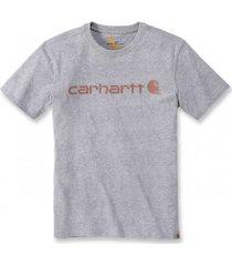 carhartt t-shirt women wk195 workwear logo graphic s/s heather grey-l