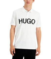hugo hugo boss men's del regular-fit logo-print pique polo shirt