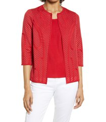 women's ming wang lattice texture jacket, size small - red