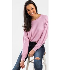 kimberly thermal slouchy tee - mauve