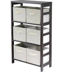 winsome capri 3-section m storage shelf with 6 foldable fabric baskets