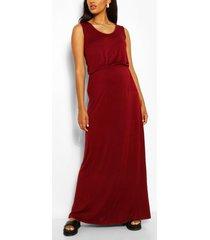 zwangerschap geplooide maxi jurk met ronde hals, wijn