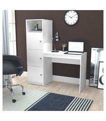 mesa escrivaninha nova mobile fortaleza 3 portas e 1 nicho