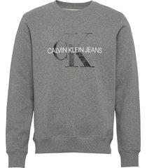 iconic monogram crewneck sweat-shirt trui grijs calvin klein jeans