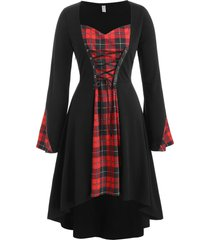 plus size lace up plaid high low halloween tee