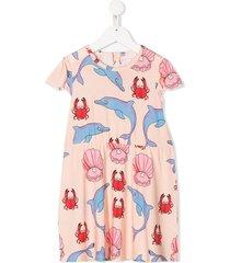 mini rodini dolphin crab pattern dress - pink