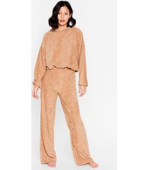 womens get it together knit hoodie and wide-leg pant set - caramel