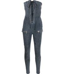 unravel project lace up bustier jumpsuit - grey
