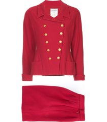 chanel pre-owned double-breasted skirt suit - red