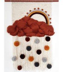 makatka, dekoracja ścienna, tęcza i chmura