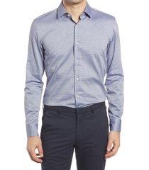 men's boss jesse slim fit microdot dress shirt, size 17 - blue