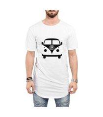 camiseta criativa urbana long line oversized kombi carro antigo