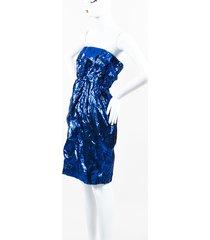 chanel metallic silk slashed strapless dress blue/black sz: xs