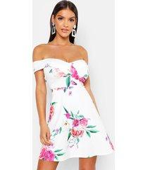 bardot sweetheart floral skater dress, white