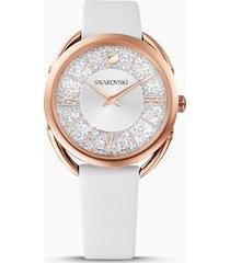 orologio crystalline glam, cinturino in pelle, bianco, pvd oro rosa