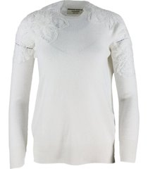ermanno scervino cashmere crewneck sweater with lace embroidery on the shoulders