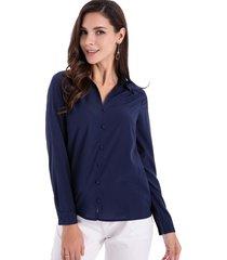 blusa básica botones azul nicopoly