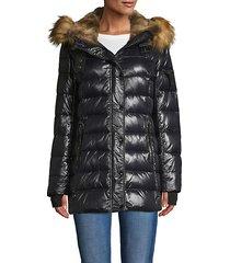chelsea faux fur-trim down puffer jacket