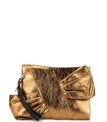 paule ka bow-detail clutch - gold