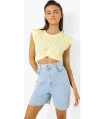 kort gedraaid t-shirt, yellow