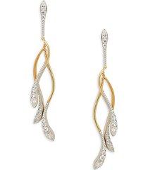 goldplated & rhodium-plated sterling silver & crystal swing drop earrings