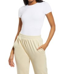 women's re ona crewneck t-shirt thong bodysuit, size x-small - white