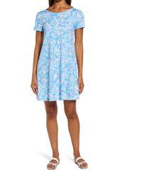 lilly pulitzer(r) lilly pulitzer kimi paisley pima cotton a-line dress, size xx-large in zanzibar blue fish vibes at nordstrom