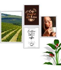 kit conjunto 4 quadro oppen house s frases com café coffe sweet lojas cafeteria xícaras grãos moldura branca decorativo interiores sem vidro