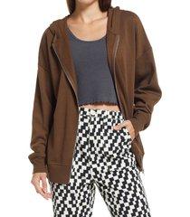 women's bp. oversize cotton blend hoodie, size medium - brown