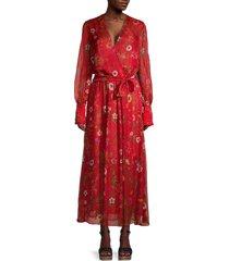 oscar de la renta women's silk floral belted maxi dress - black multi - size 6