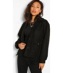 cropped wool look jacket, black