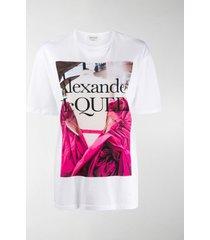 alexander mcqueen rose dress print t-shirt
