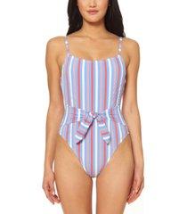 jessica simpson miami stripe printed tie-waist one-piece swimsuit women's swimsuit