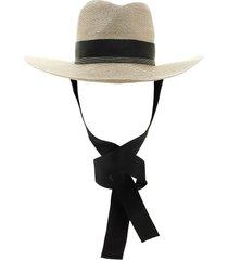 brunello cucinelli straw hat with precious grosgrain band