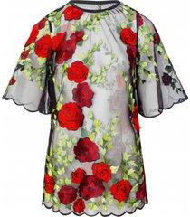 bluzka w haftowane kwiaty