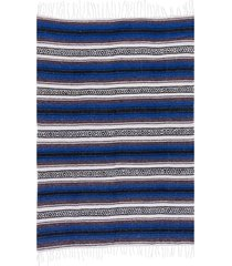 native yoga economy flaza mexican blanket blue cotton