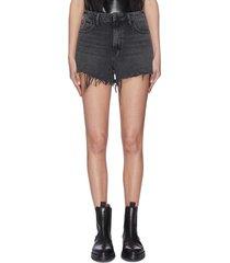 'bite' frayed cuff denim shorts