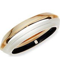 2-piece 10k goldplated & lucite angled bangle bracelet set