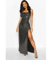 maxi jurk met watervalhals, hoge split en pailetten, zilver