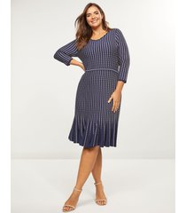 lane bryant women's textured a-line sweater dress 26/28 new navy