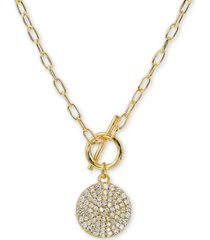 "argento vivo cubic zirconia pave disc 16"" pendant necklace in 18k gold-plated silver"