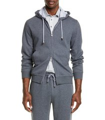men's brunello cucinelli leisure hooded cotton blend sweatshirt