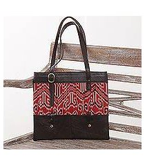 leather and cotton ikat shoulder bag, 'jepara tradition' (indonesia)