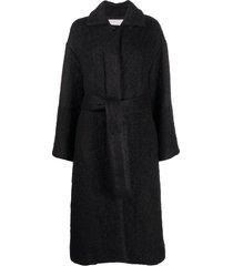 jil sander oversized belted wool coat - blue